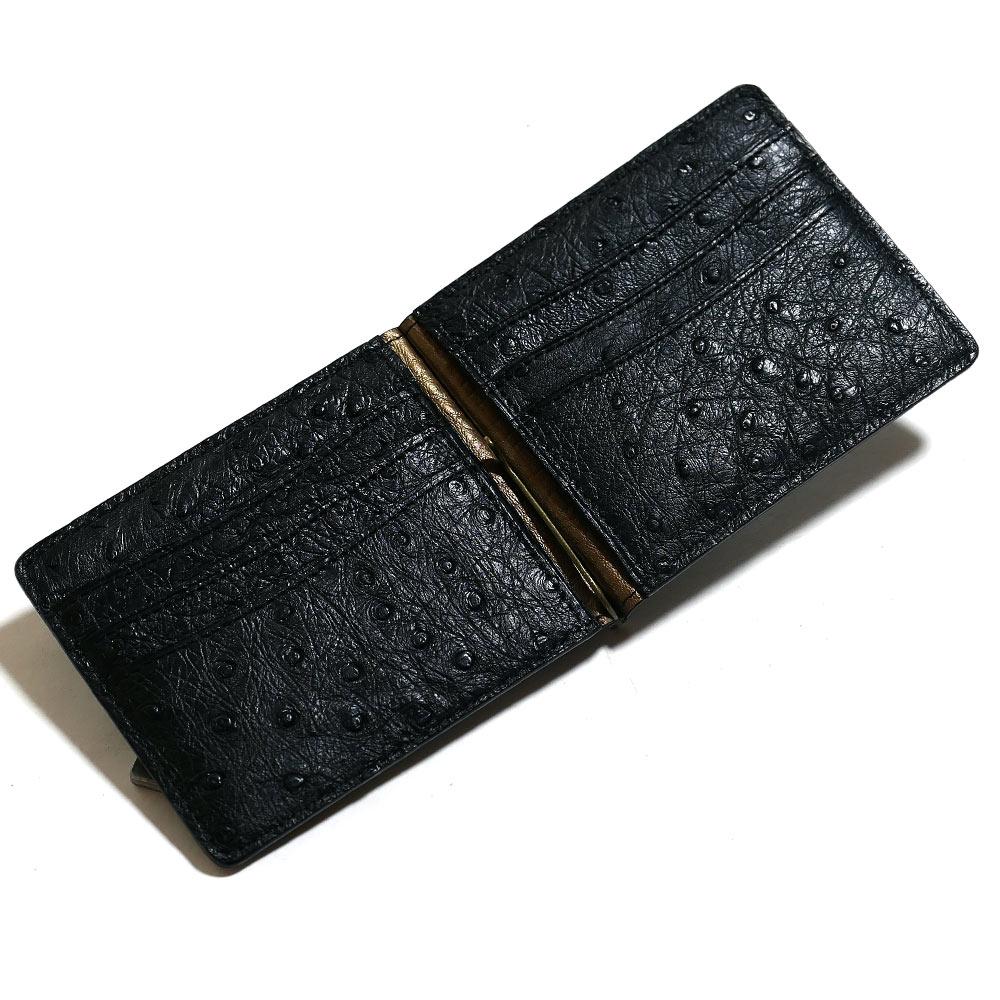 札ばさみ マネークリップ メンズ レディース 薄型 オーストリッチ革 駝鳥革 無双 カード収納 マット ブラック