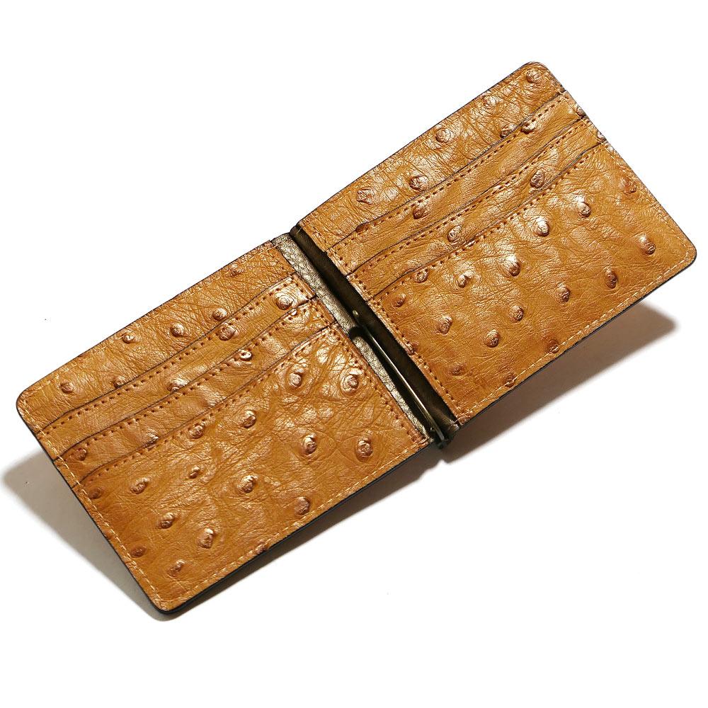 札ばさみ マネークリップ メンズ レディース 薄型 オーストリッチ革 駝鳥革 無双 カード収納 パール キャメル