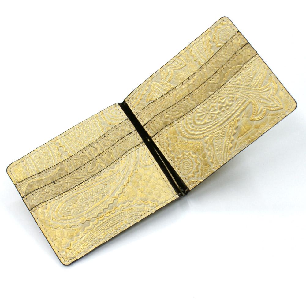 d238f7c98e44 カードも収納可能 スマートな札ばさみ優美な曲線が描かれたペイズリー柄 ...