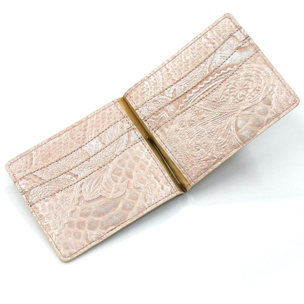 札ばさみ マネークリップ 財布 折り財布 サイフ さいふ メンズ レディース 薄型 蛇革 パイソン革 ヘビ革 無双仕様 カード収納 簡単収納 日本製 柄 ペイズリー ピンク