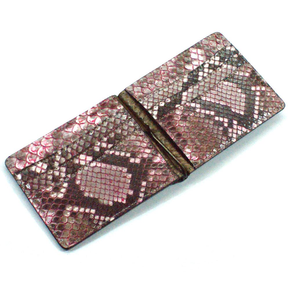 マネークリップ 財布 折り財布 薄型 カード収納 メンズ レディース 蛇革 パイソン革 ヘビ革 無双仕様 15F