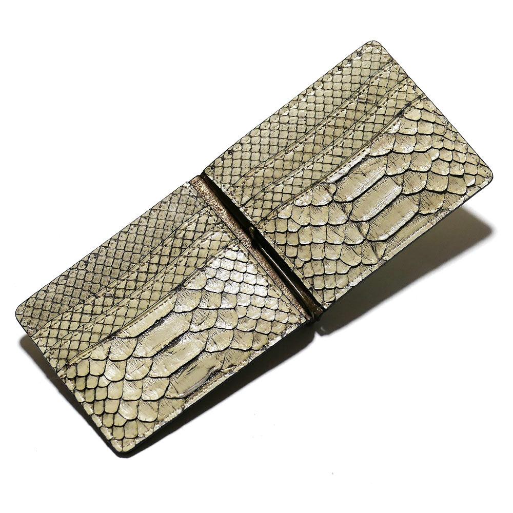 札ばさみ マネークリップ メンズ レディース 薄型 蛇革 パイソン革 ヘビ革 無双仕様 カード収納 簡単収納 日本製 柄 ゼブラ ベージュ