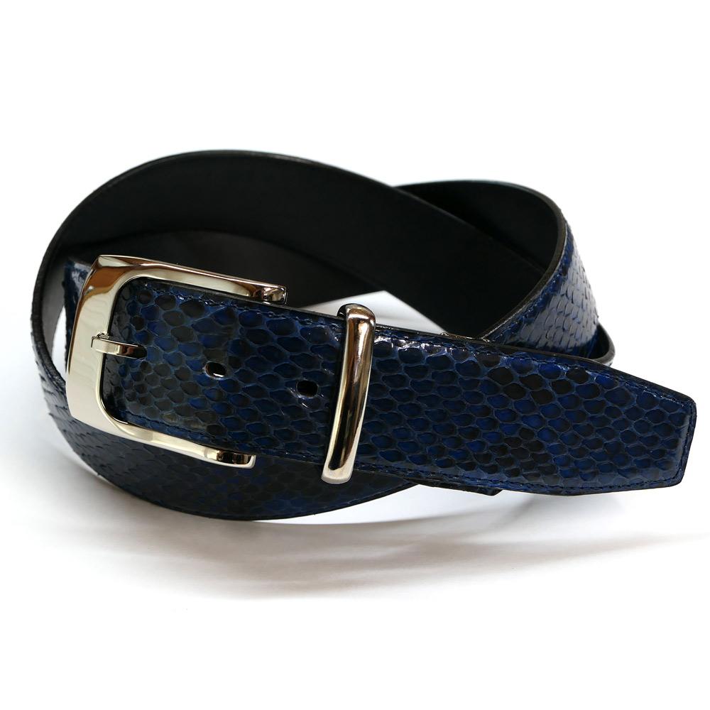 ベルト メンズ パイソン ダイヤモンドパイソン 蛇革 牛革 レザー 4cm幅 グレージング 藍染