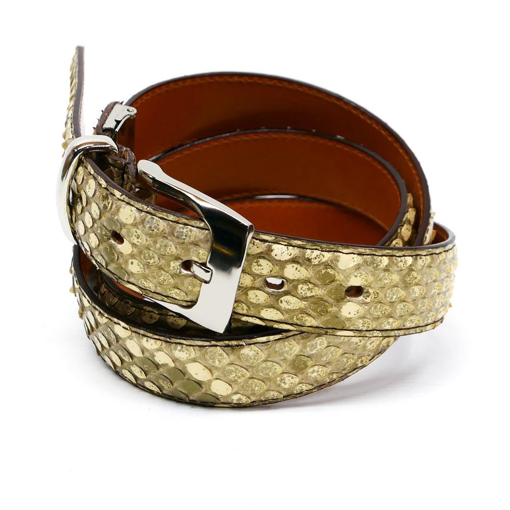 ベルト モラレス パイソン 蛇 本革 牛革 メンズ レディース 3cm幅 パール ゴールド