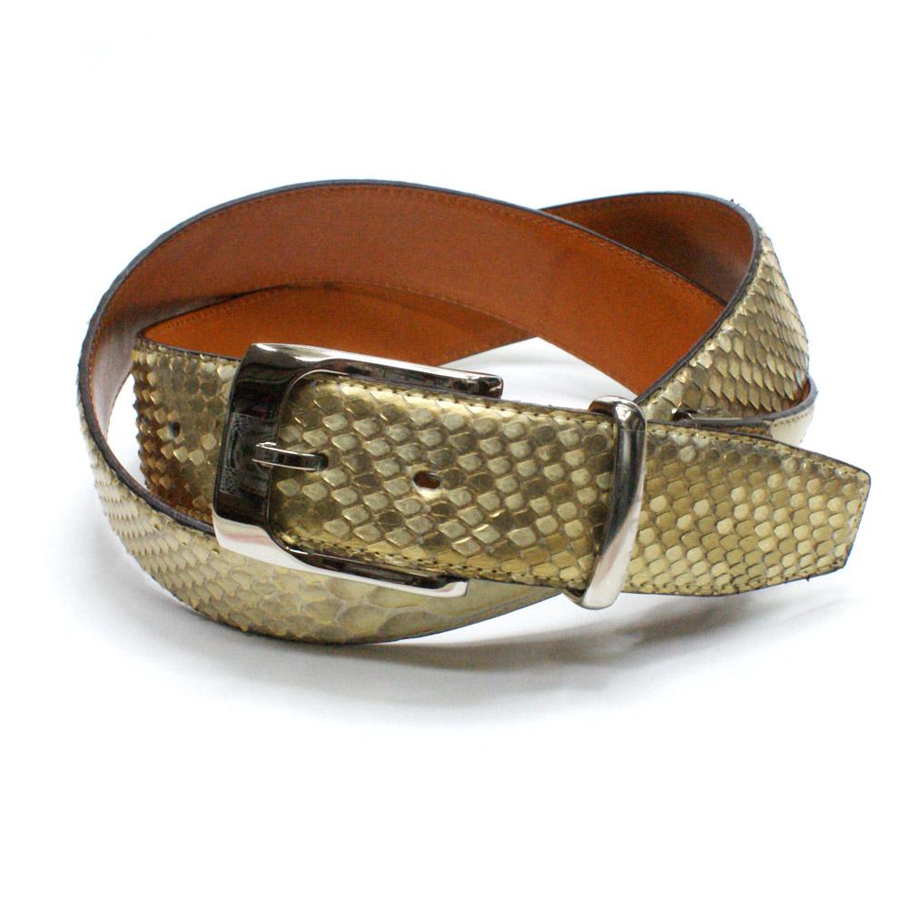 ベルト レザーベルト メンズベルト 蛇革 4cm幅 パイソン革 栃木レザー 牛革 ヘビ革 ベルト パールゴールド