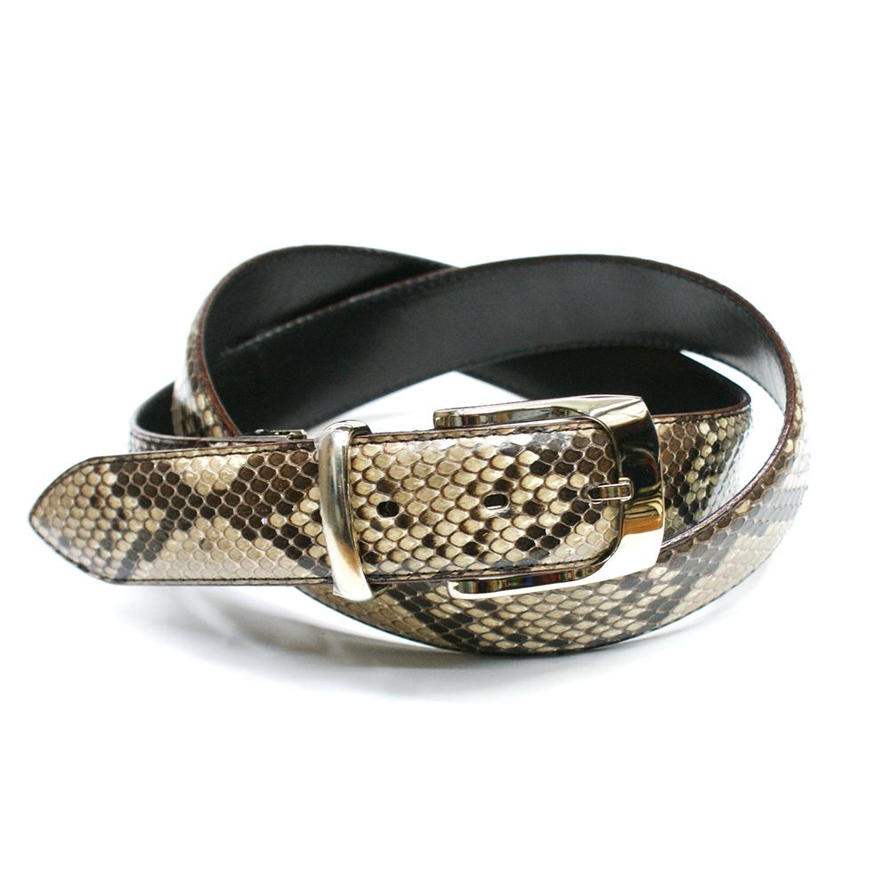 ベルト メンズ 本革 蛇革 3.5cm幅 パイソン ヘビ革 栃木レザー 日本製 柄 艶あり ナチュラル