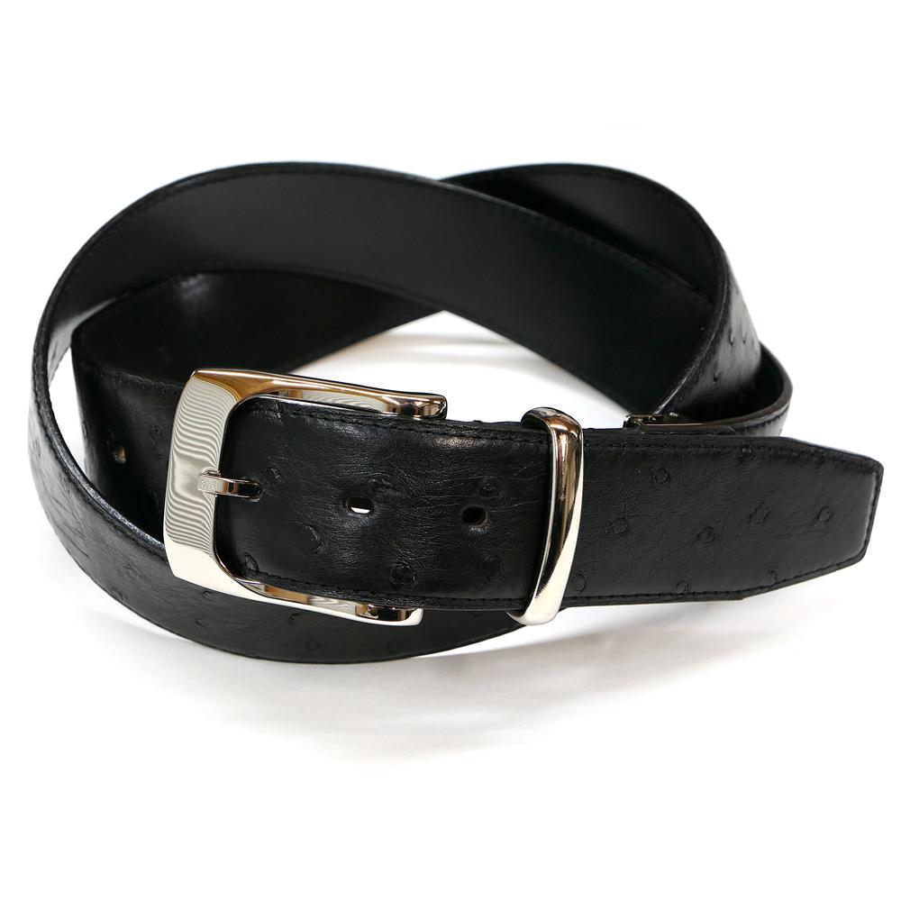 ベルト メンズ オーストリッチ 駝鳥革 牛革 レザー 4cm幅 ブラック