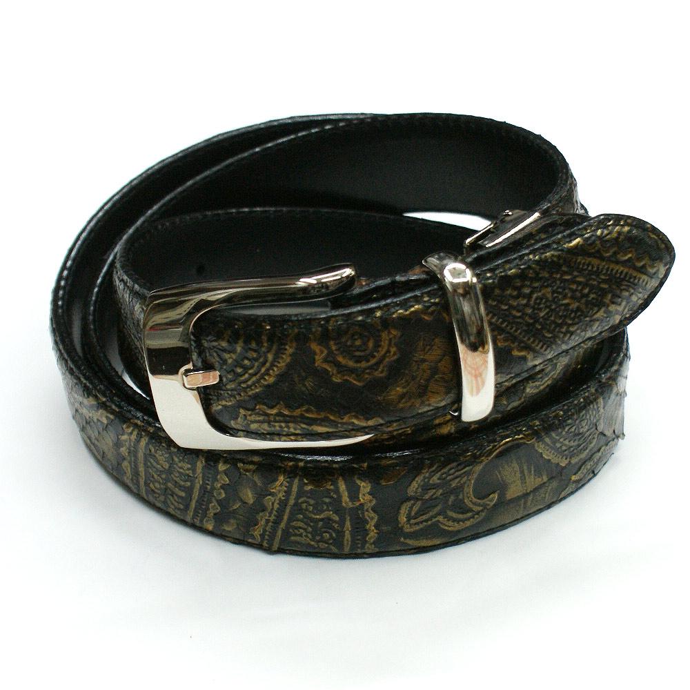 ベルト レザー ベルト パイソン革 蛇革 ヘビ革 3cm幅 栃木レザー 牛革 日本製 本革 メンズベルト ギフト ペイズリー柄 ダークイエロー