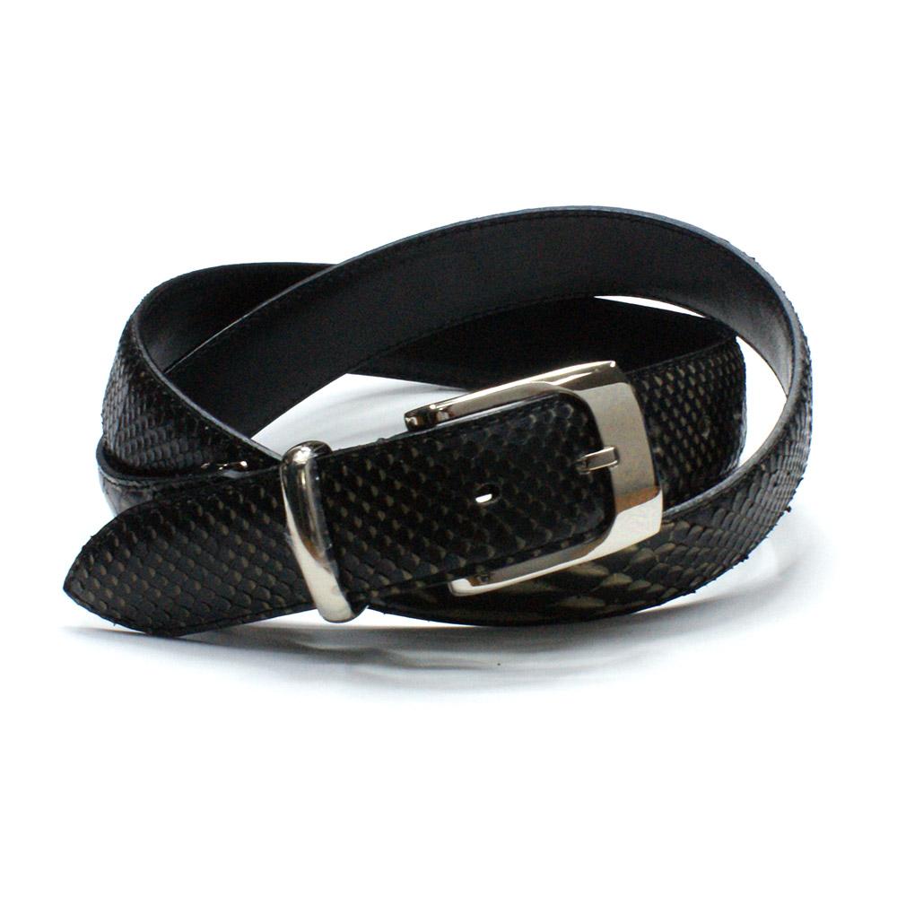 ベルト メンズベルト レザーベルト パイソン革 蛇革 ヘビ革 3.5cm幅 栃木レザー 牛革 日本製 本革 ギフト ゼブラ ブラック