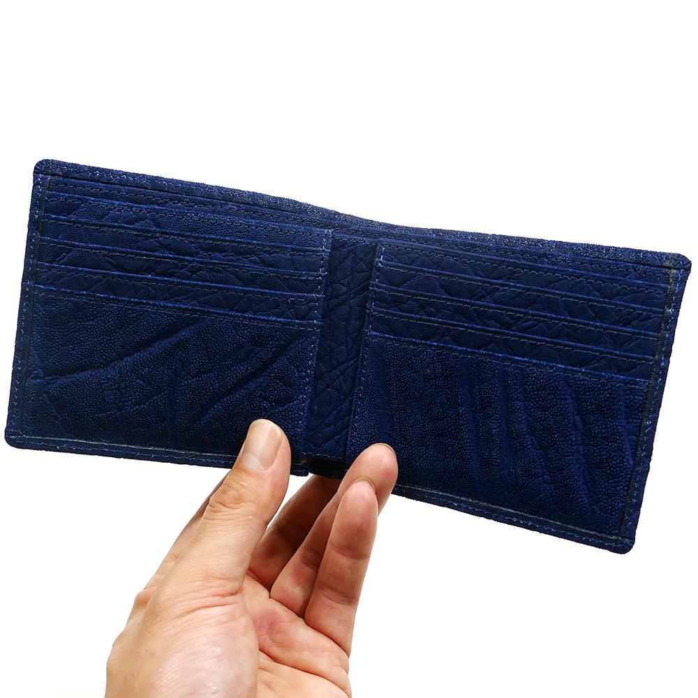 財布 折り財布 二つ折り財布 エレファントレザー 本革  象革 無双 革 レザー 純札 無双仕様 小銭入れなし カード収納 サイフ さいふ 札入れ メンズ財布 本革財布 藍染