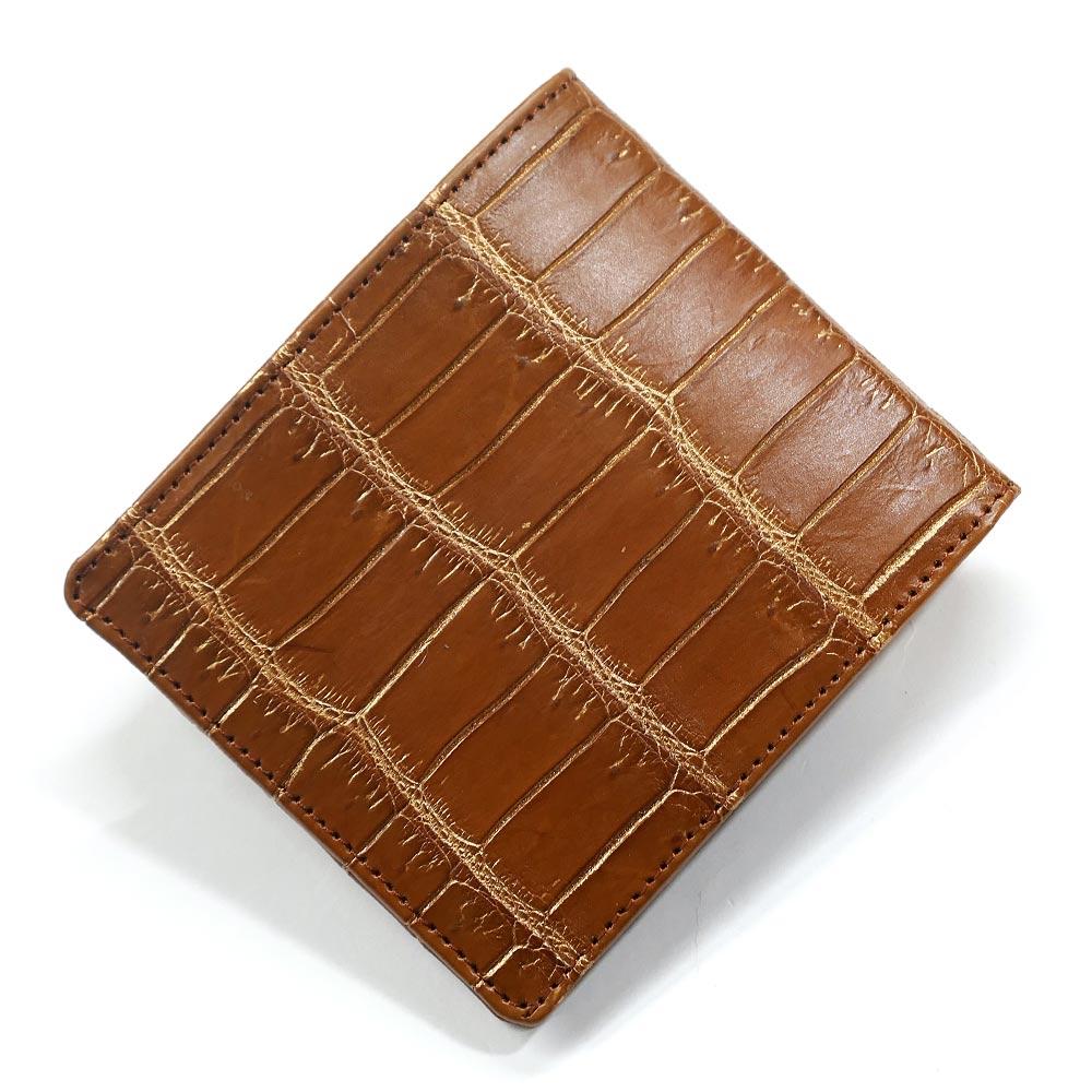 財布 二つ折り財布 小銭入れ無し クロコダイル ワニ革 鰐革 純札 無双仕様 小銭入れなし カード収納 折り財布 サイフ さいふ 札入れ メンズ財布 本革財布 バリバー ブラウンゴールド