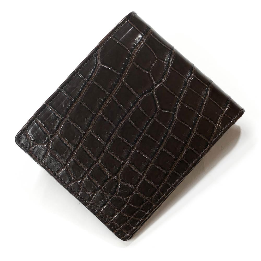二つ折り財布 折り財布 クロコダイル革 財布 鰐 クロコ 鰐革 財布 無双仕様 小銭入れなし カード収納 レディース財布 メンズ財布 チョコ
