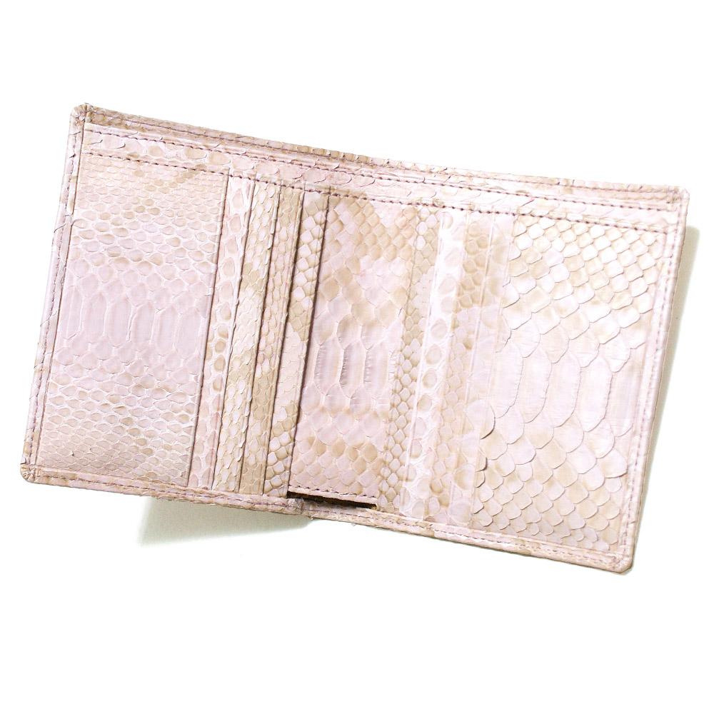 財布 二つ折り財布 折り財布 二つ折り財布 パイソン革 蛇革 小銭入れ無し 無双仕様 メンズ レディース 送料無料 ハーフブリーチ ピンク