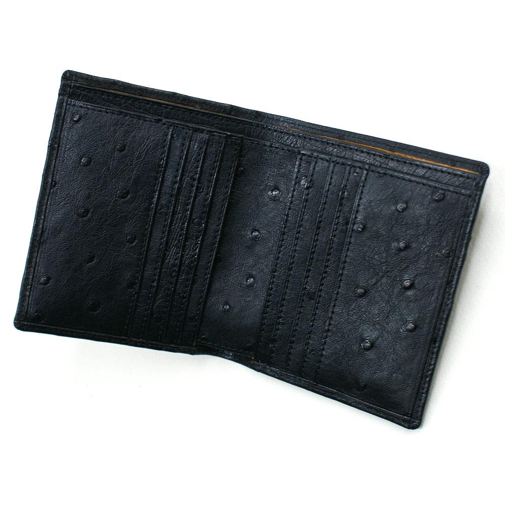財布 二つ折り財布 折り財布 二つ折り財布 オーストリッチ革 駝鳥革 小銭入れ無し 無双仕様 メンズ レディース 送料無料 黒 マット ブラック