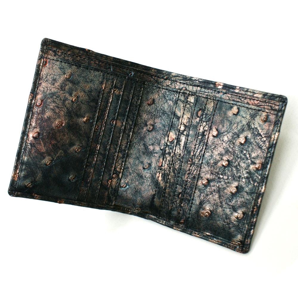 財布 二つ折り財布 折り財布 二つ折り財布 オーストリッチ革 駝鳥革 小銭入れ無し 無双仕様 メンズ レディース 送料無料 ラグジュアリーレトロ