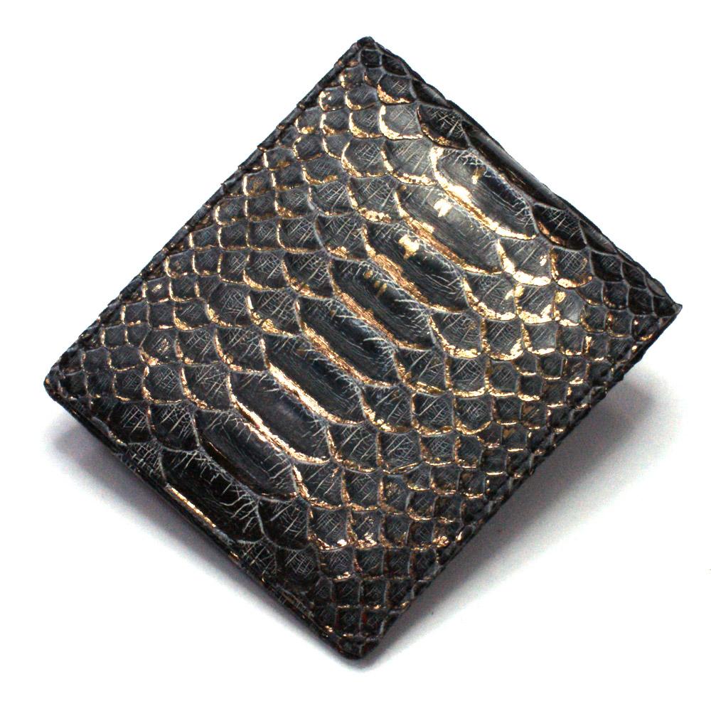 財布 メンズ レディース 本革 二つ折り 折り財布 純札 小銭入れなし カード収納 サイフ さいふ 札入れ パイソン 蛇革 ヘビ 無双仕様 日本製 P14