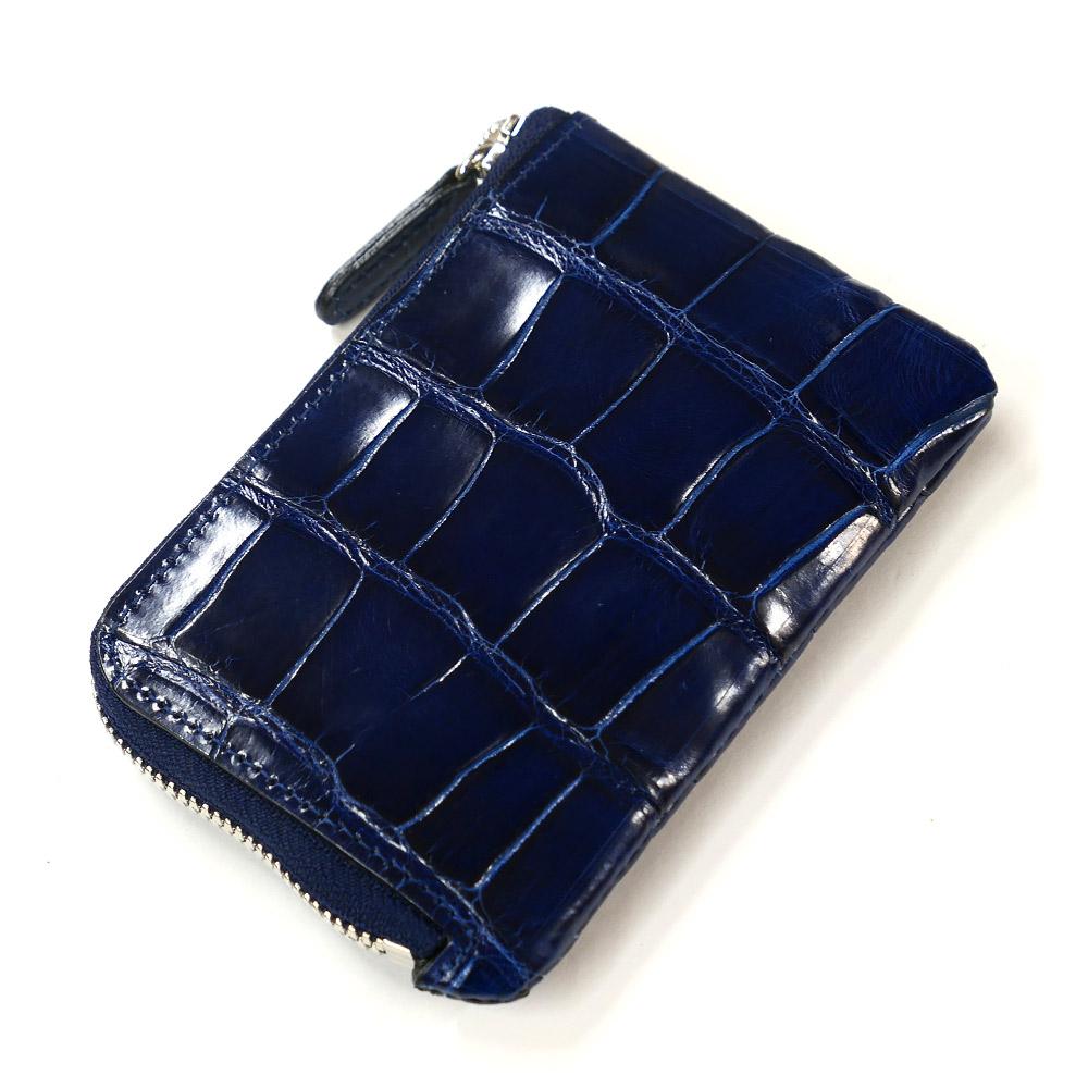 財布 L字 ラウンドファスナー財布 札入れ レディース財布 メンズ財布 薄型 コンパクト クロコダイル ワニ革 レザー 革 サイフ グレージング 藍染