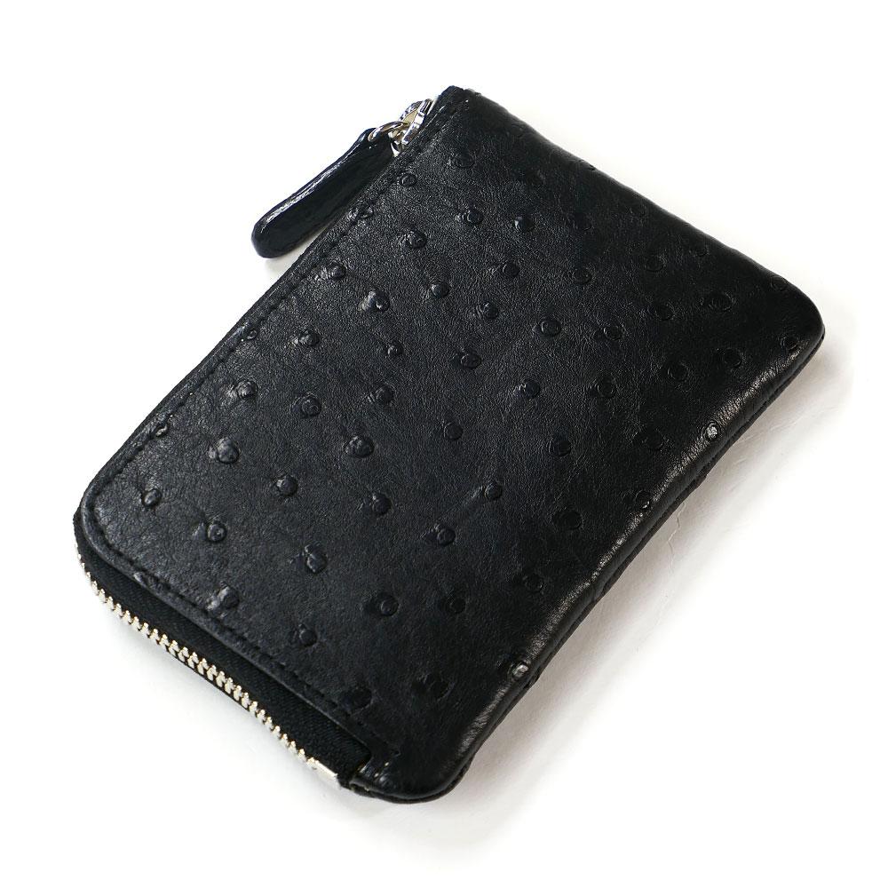 財布 L字 ラウンドファスナー財布 札入れ レディース財布 メンズ財布 薄型 コンパクト オーストリッチ 駝鳥革 レザー 革 サイフ 黒 ブラック