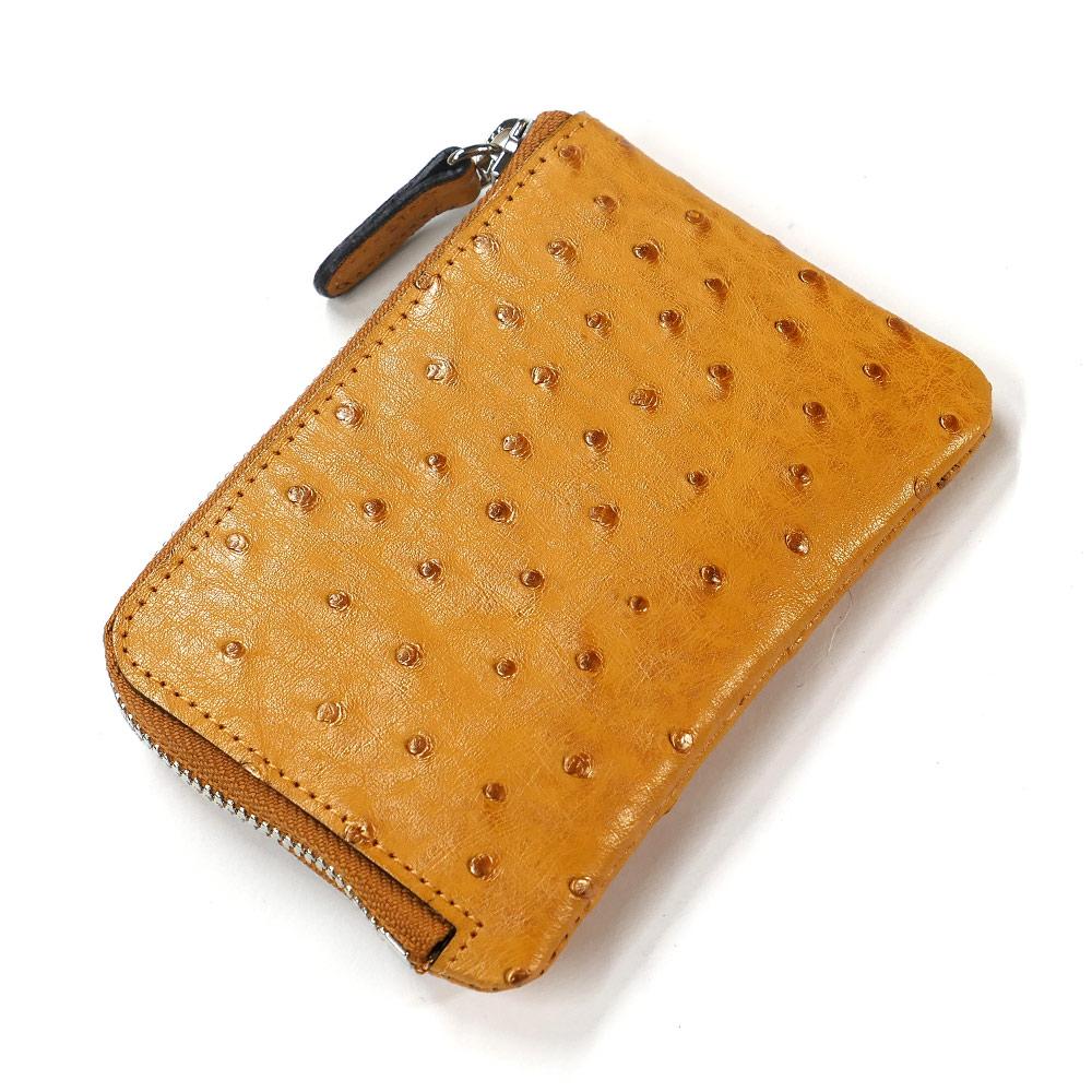 財布 L字 ラウンドファスナー財布 札入れ レディース財布 メンズ財布 薄型 コンパクト オーストリッチ 駝鳥革 レザー 革 サイフ キャメル