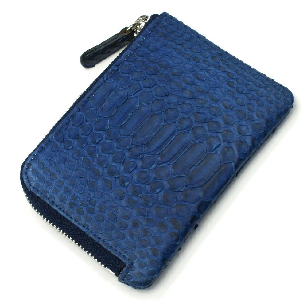 財布 L字 ラウンドファスナー財布 札入れ レディース財布 メンズ財布 薄型 コンパクト パイソン 蛇革 ヘビ革 藍染