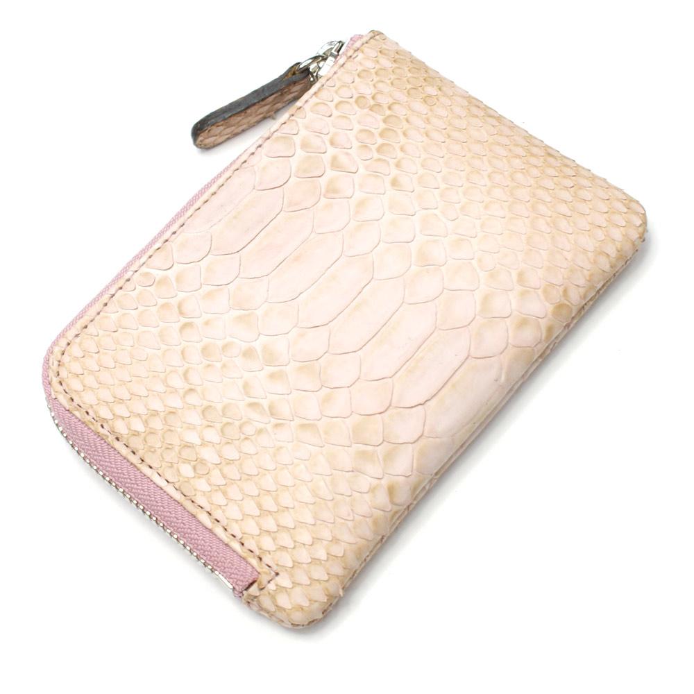 財布 L字 ラウンドファスナー財布 札入れ レディース財布 メンズ財布 薄型 コンパクト パイソン 蛇革 ヘビ革 日本製 ハーフブリーチ ピンク