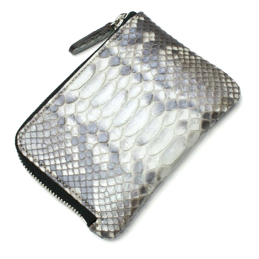 財布 L字 ラウンドファスナー財布 札入れ レディース財布 メンズ財布 薄型 コンパクト パイソン 蛇革 ヘビ革 日本製 ハーフブリーチ シルバー