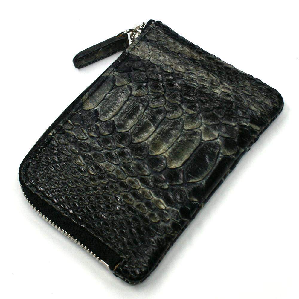 財布 L字 ラウンドファスナー財布 札入れ レディース財布 メンズ財布 薄型 コンパクト パイソン 蛇革 ヘビ革 ハードシェード ブラック