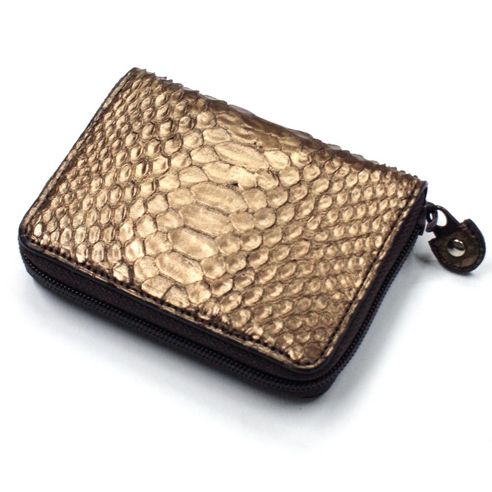 コインケース 小銭入れ ラウンドファスナー ヘビ 蛇 パイソン 本革 革 メンズ レディース 小さい 財布 サイフ カード カードケース ジッパー ギフト プレゼント Ver.2 ブロンズ チョコ