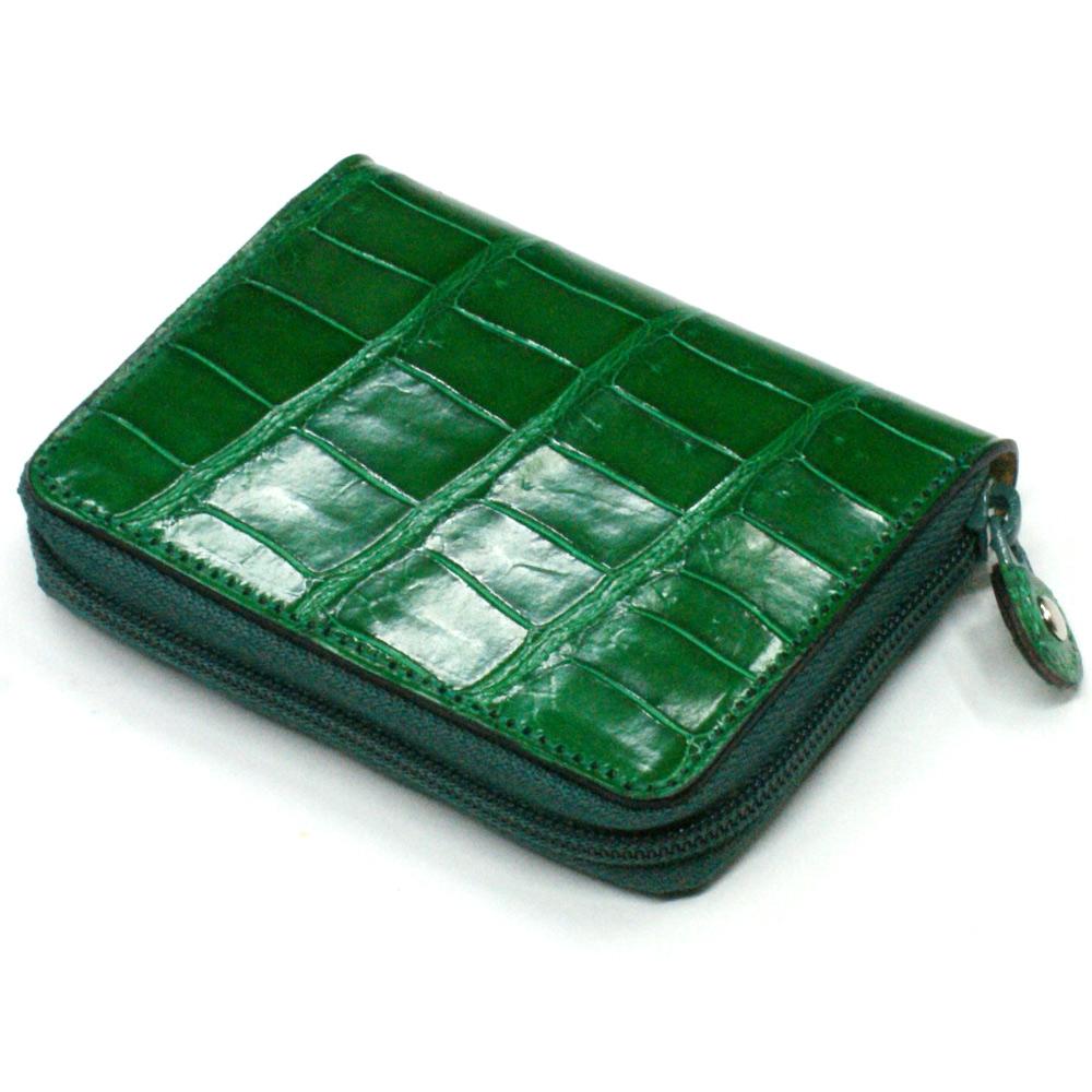 送料無料 本革 コインケース 小銭入れ クロコダイル革 ワニ革 クロコ 革 メンズ レディース 小さい レザー 財布 サイフ カード カードケース ギフト プレゼント グレージング グリーン