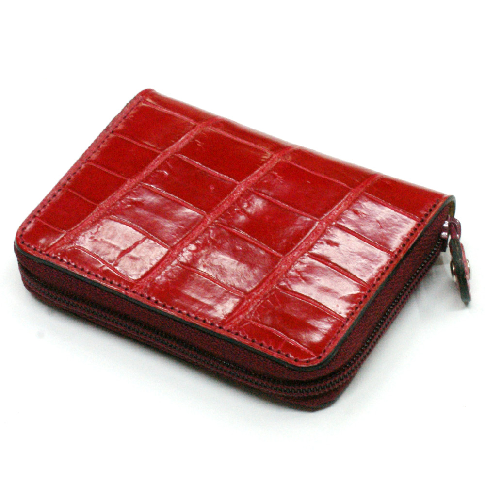 送料無料 本革 コインケース 小銭入れ クロコダイル革 ワニ革 クロコ 革 メンズ レディース 小さい レザー 財布 サイフ カード カードケース ギフト プレゼント グレージング レッド