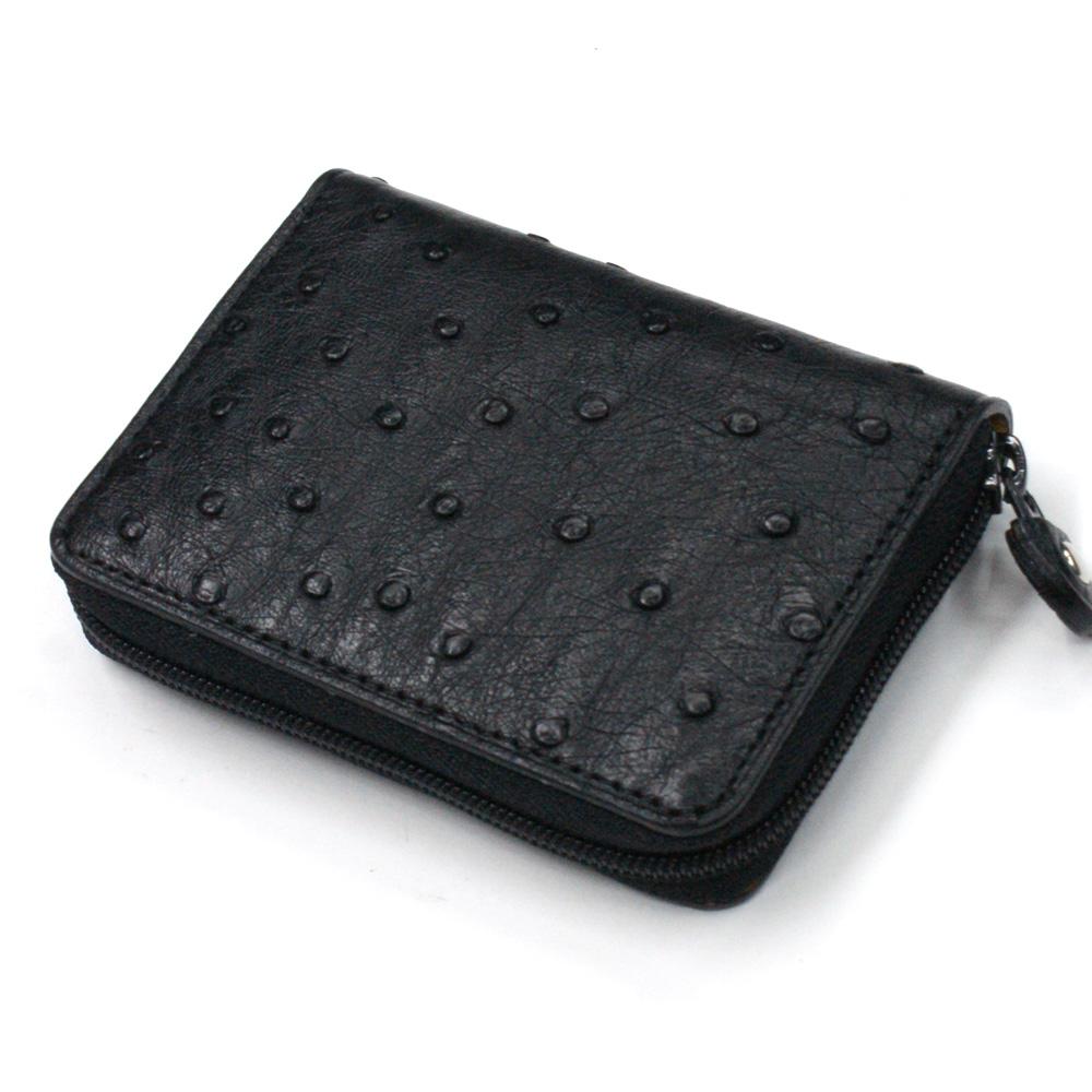 コインケース ラウンドファスナー 小銭入れ メンズ レディース オーストリッチ 駝鳥革 革 レザー 財布 ジッパー ギフト 日本製 Ver.2 黒 ブラック