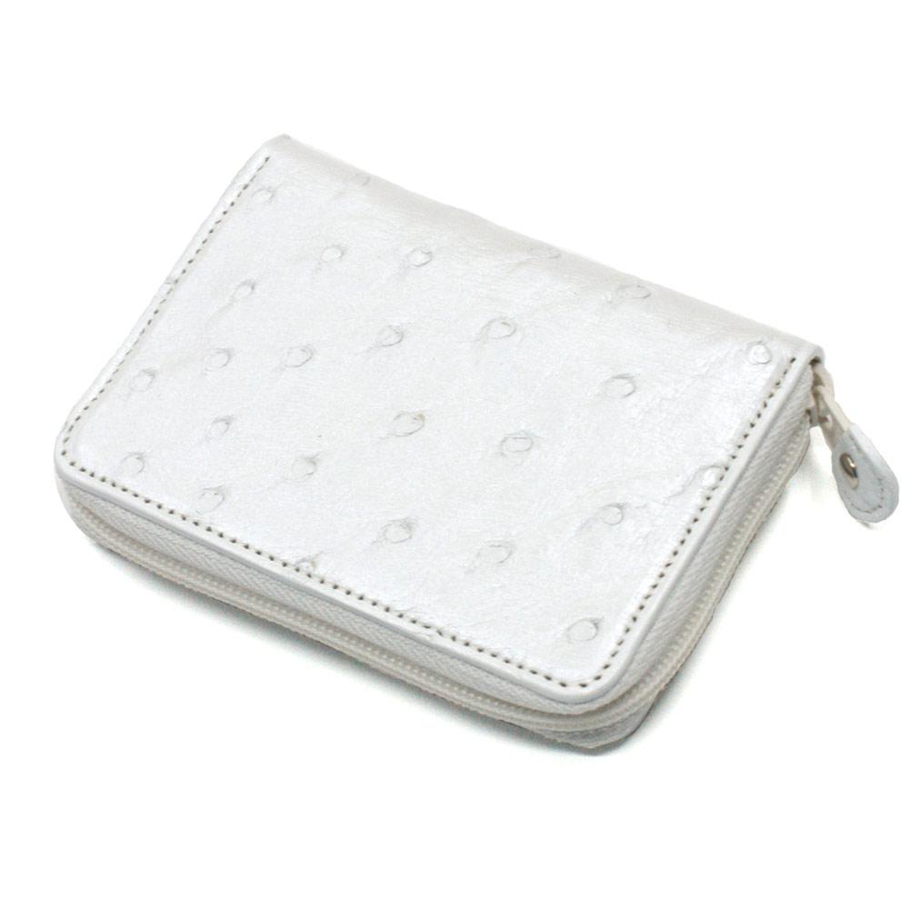 コインケース ラウンドファスナー 小銭入れ メンズ レディース オーストリッチ 駝鳥革 革 レザー 財布 ジッパー ギフト 日本製 白 ホワイト