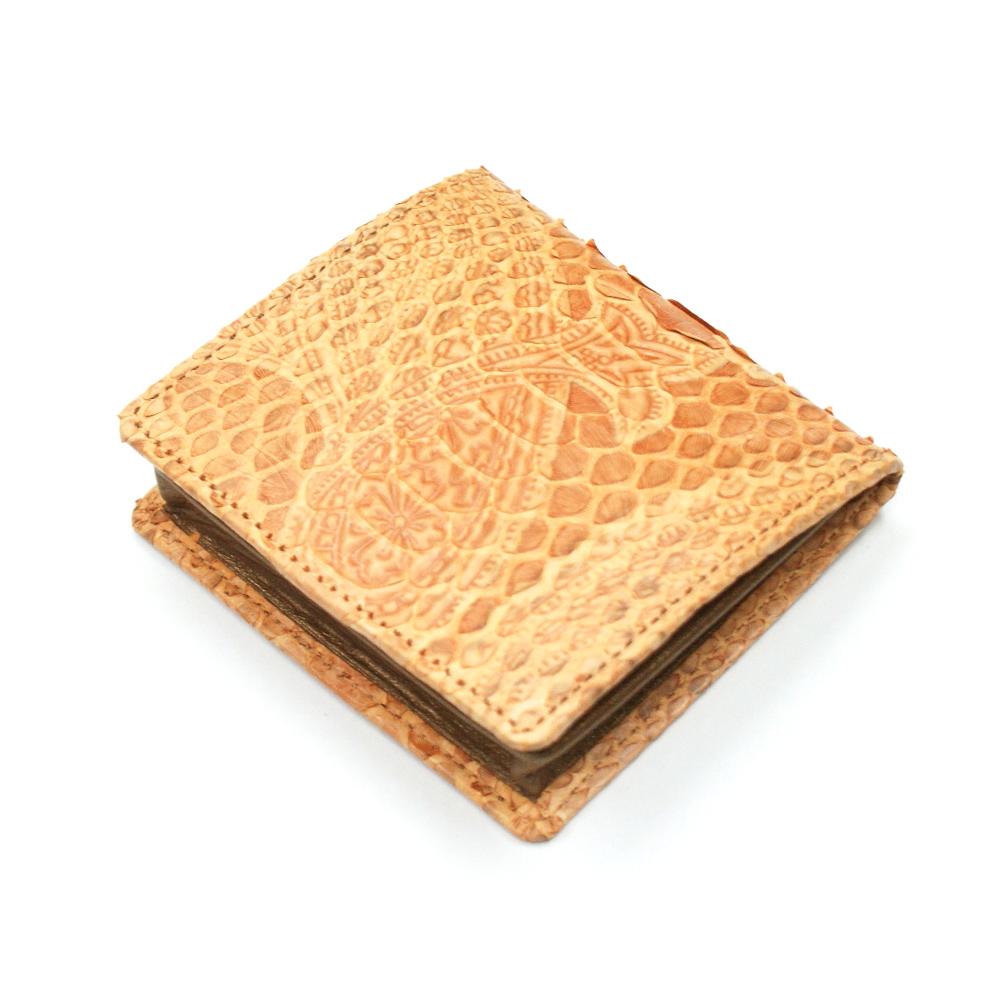 コインケース メンズ レディース 小銭入れ 蛇革 パイソン革 ヘビ革 ボックス型小銭入れ 薄型 コンパクト BOX型小銭入れ ギフト 日本製 ペイズリー柄 型押し仕上げ オレンジ