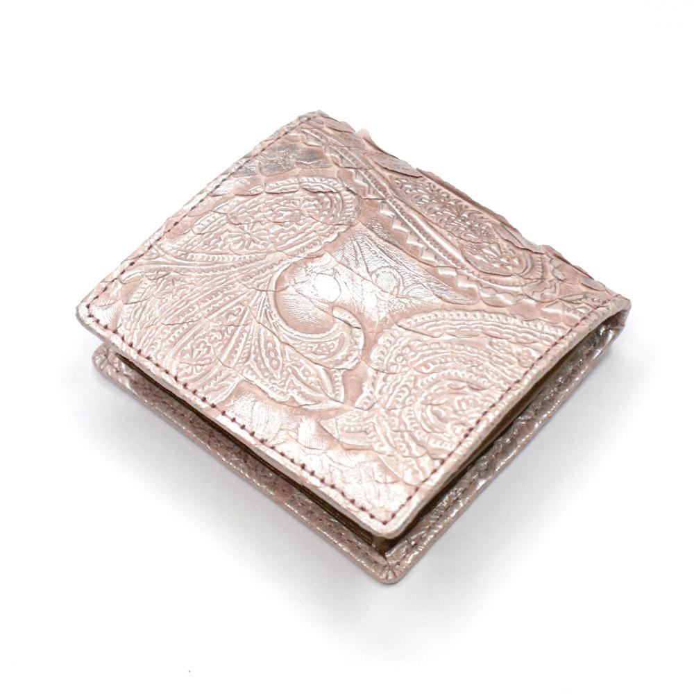 コインケース レディース 小銭入れ 蛇革 パイソン革 ヘビ革 ボックス型小銭入れ 薄型 コンパクト BOX型小銭入れ ギフト 日本製 ペイズリー柄 型押し仕上げ ピンク
