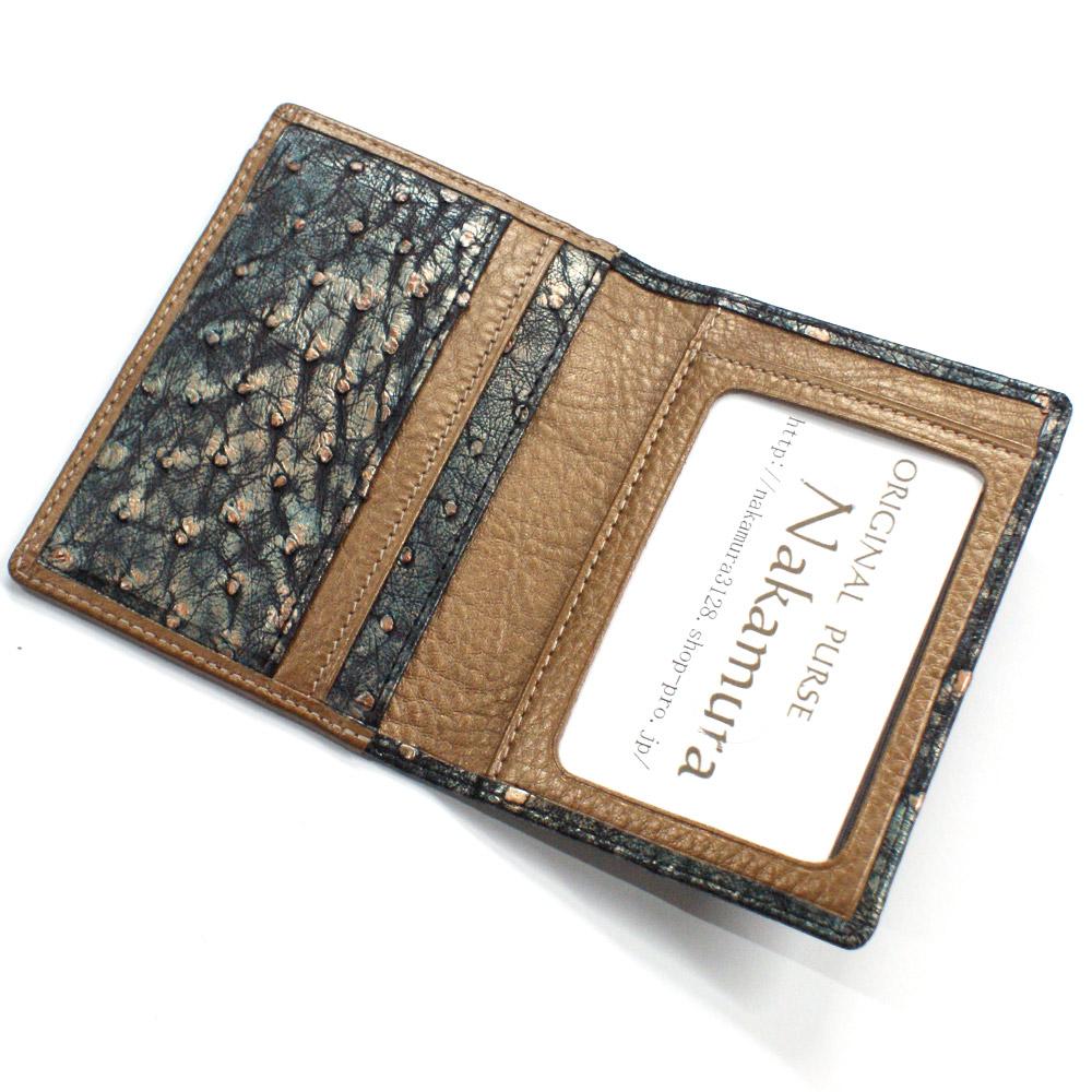 定期入れ パスケース 本革 レザー メンズ レディース オーストリッチ 駝鳥革 二つ折り パス入 透明窓 カード入れ カード収納 ポイントカード ラグジュアリー レトロ