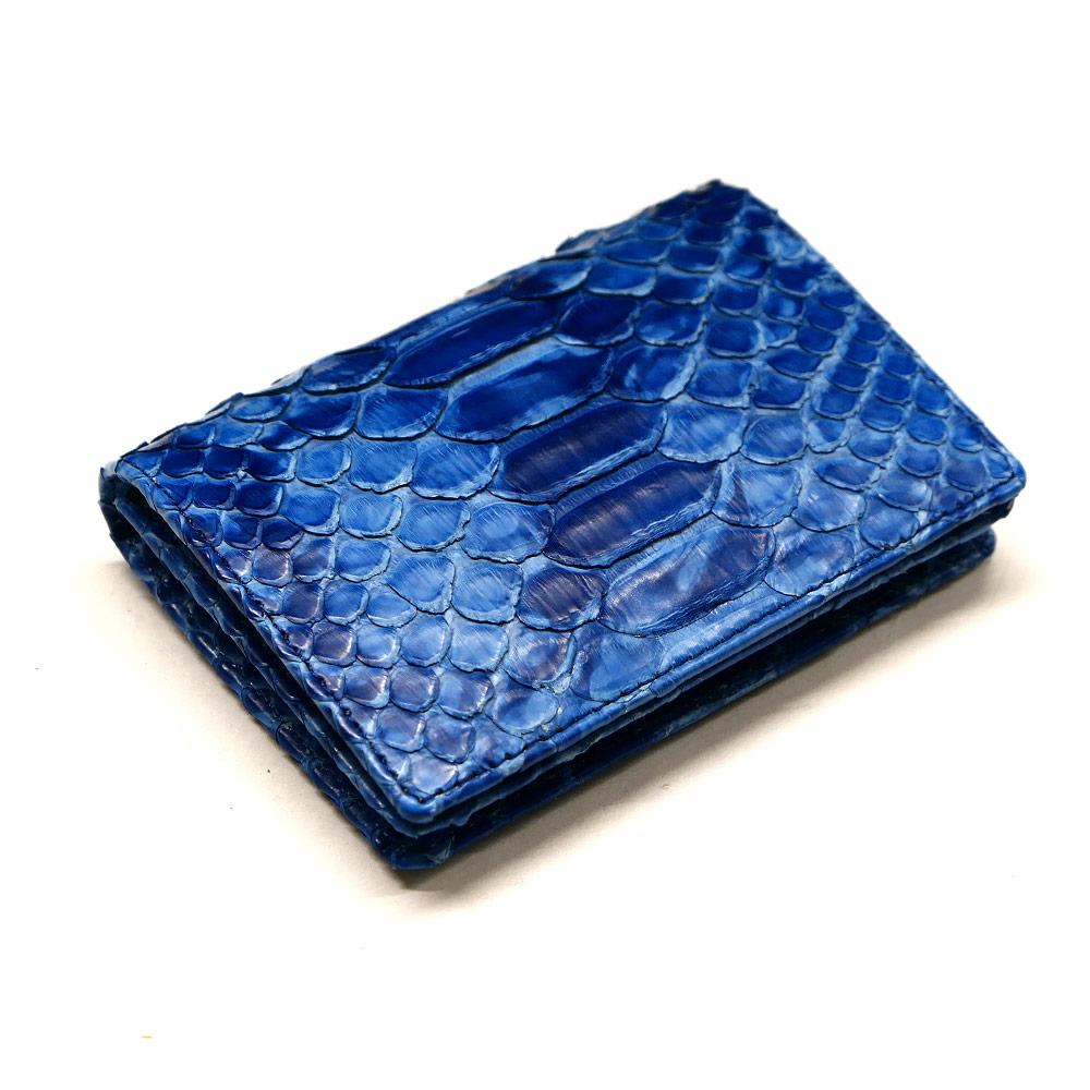 名刺入れ 名刺ケース 通しマチ型 メンズ レディース 本革 パイソン革 蛇革 藍染 絞り