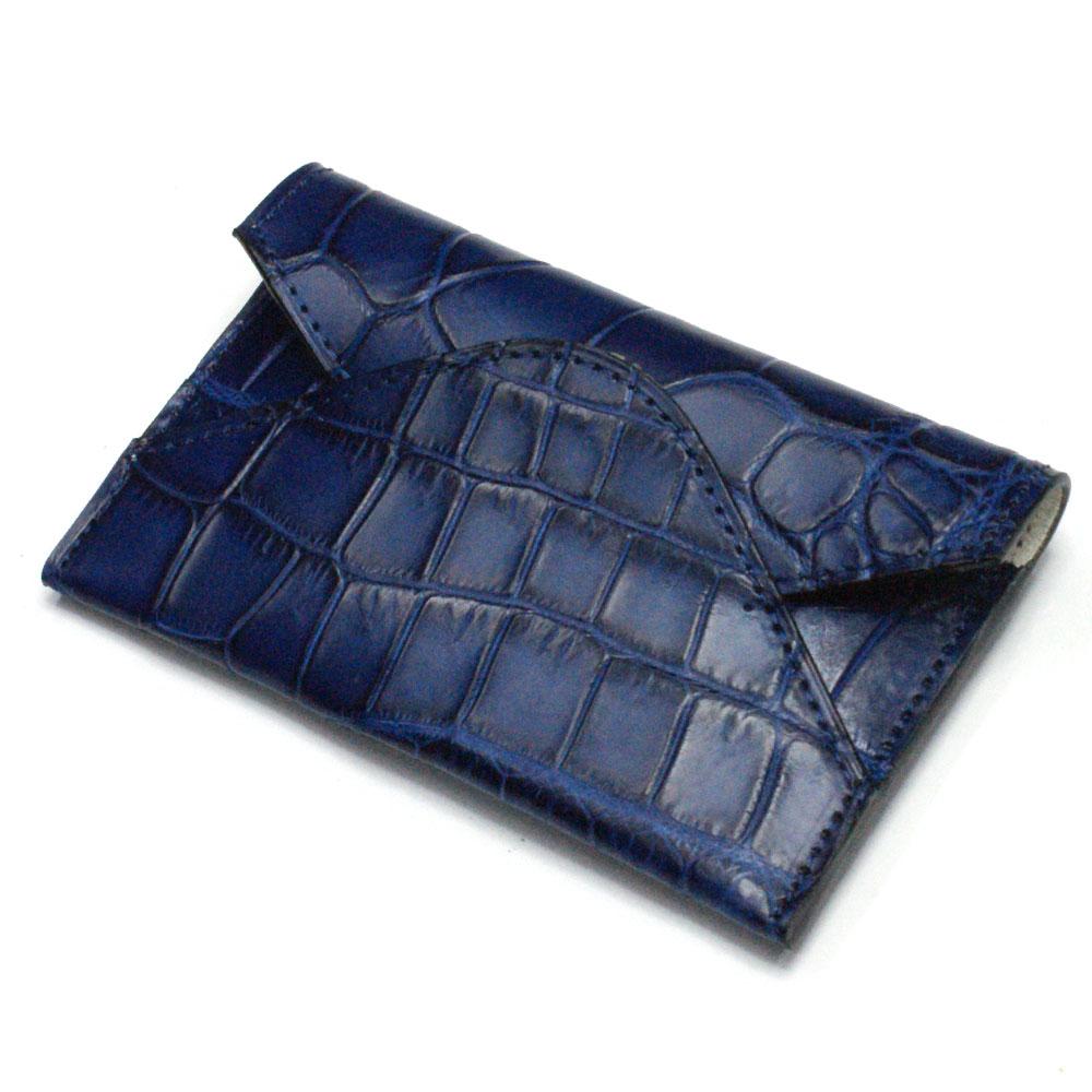 名刺入れ 名刺ケース メンズ レディース クロコダイル革 ワニ革 レザー 薄型 スリム コンパクト カード入れ カードケース 日本製 藍染