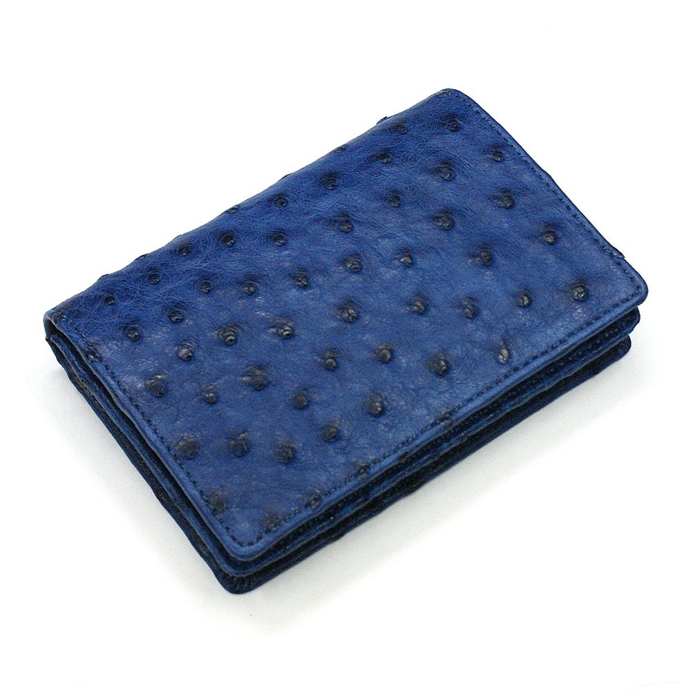 名刺入れ 名刺ケース メンズ レディース オーストリッチ革 駝鳥革 無双 レザー 通しマチ ビジネス シンプル カードケース 大容量 ギフト 藍染