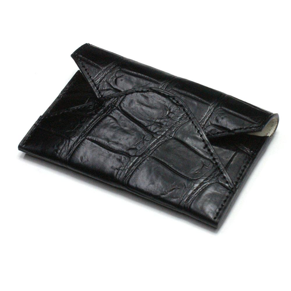 名刺入れ 名刺ケース メンズ レディース クロコダイル革 ワニ革 レザー 薄型 スリム コンパクト カード入れ カードケース 日本製 マット ブラック