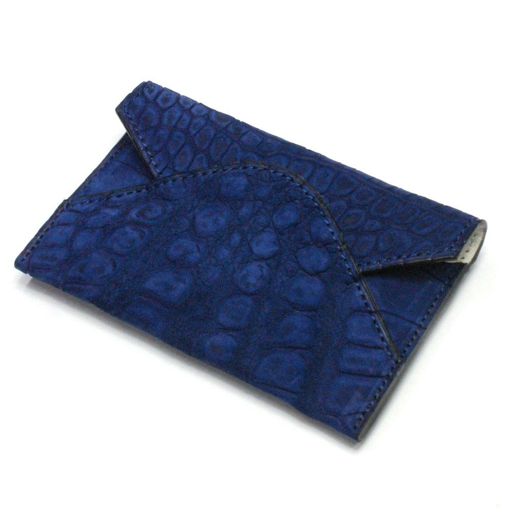 名刺入れ 名刺ケース メンズ レディース クロコダイル革 ワニ革 レザー 薄型 スリム コンパクト カード入れ カードケース 日本製 ヌバック ブルー