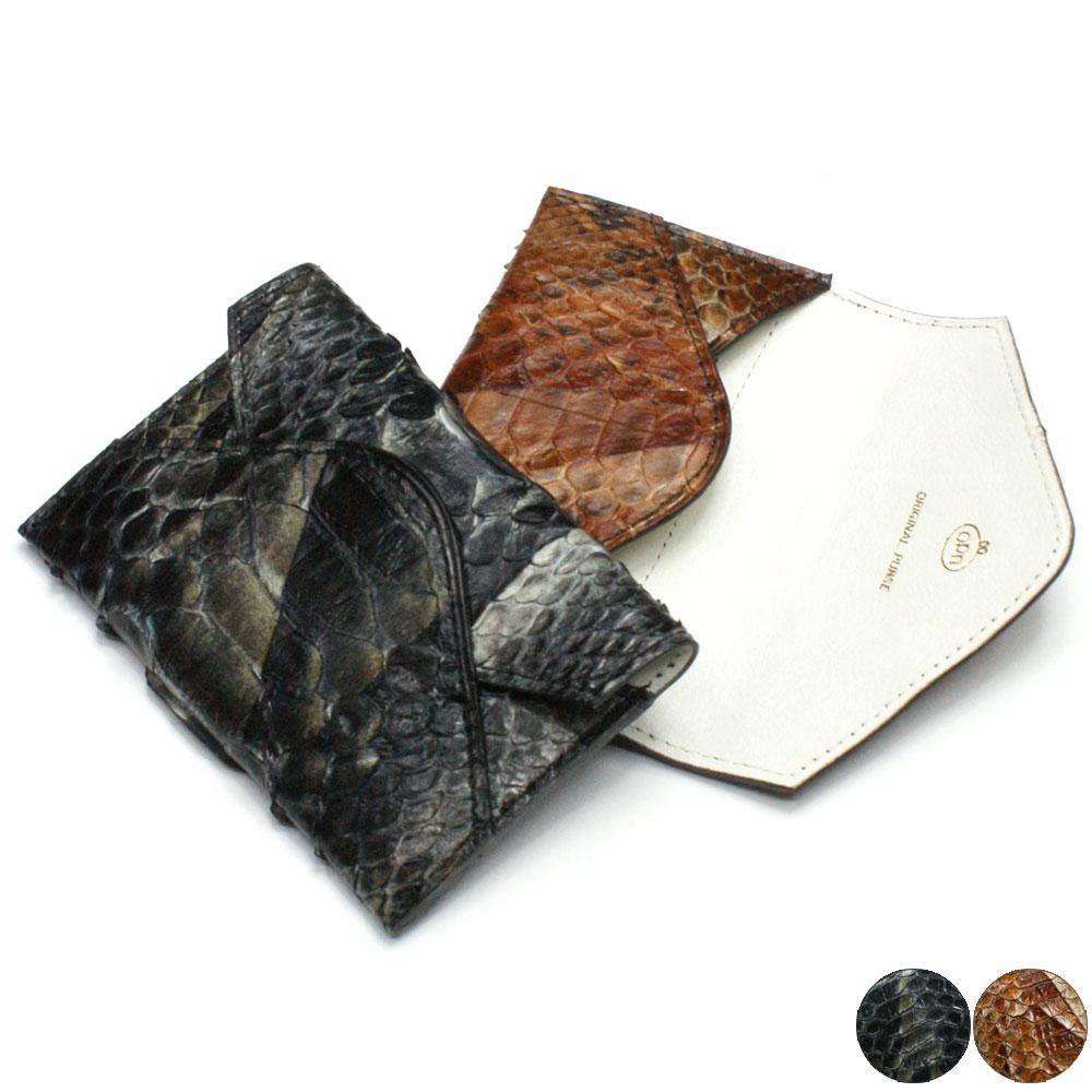 名刺入れ 名刺ケース メンズ レディース パイソン革 ヘビ革 蛇革 レザー 薄型 スリム コンパクト カード入れ カードケース 日本製 ハードシェード 各色 チョコ ブラック