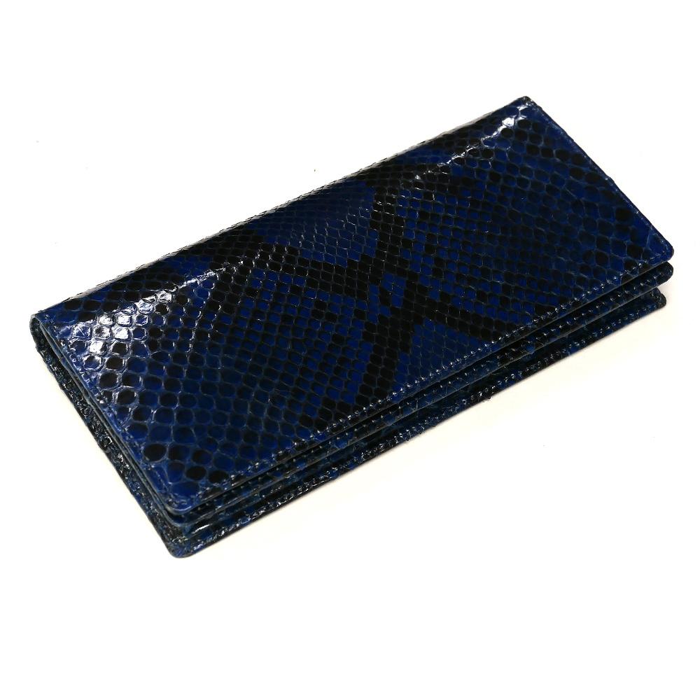 長財布 財布 本革 メンズ財布 レディース財布 長札 ロング ウォレットパイソン革 蛇革 へび革 通しまち型 小銭入れ付 カード収納 日本製 グレージング 藍染 2