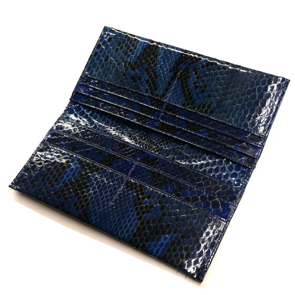 長財布 メンズ レディース ダイヤモンド パイソン 蛇 ヘビ マチ無し 小銭入れ無し グレージング 藍染