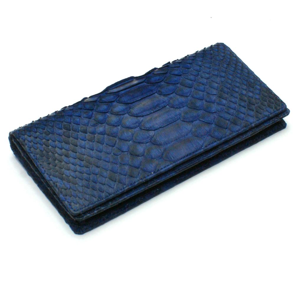 長財布 財布 メンズ レディース 長札 ロング ウォレットパイソン革 蛇革 へび革 通しまち型 小銭入れ付 藍染 仕上げ 2
