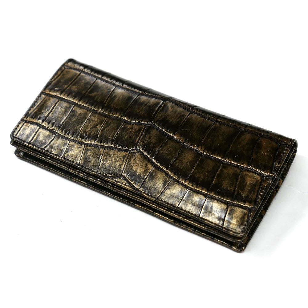 クロコダイル ワニ革 本革 長財布 メンズ 札入れ かぶせ 無双仕様 通しまち 小銭入れなし ラグジュアリー チョコ 2