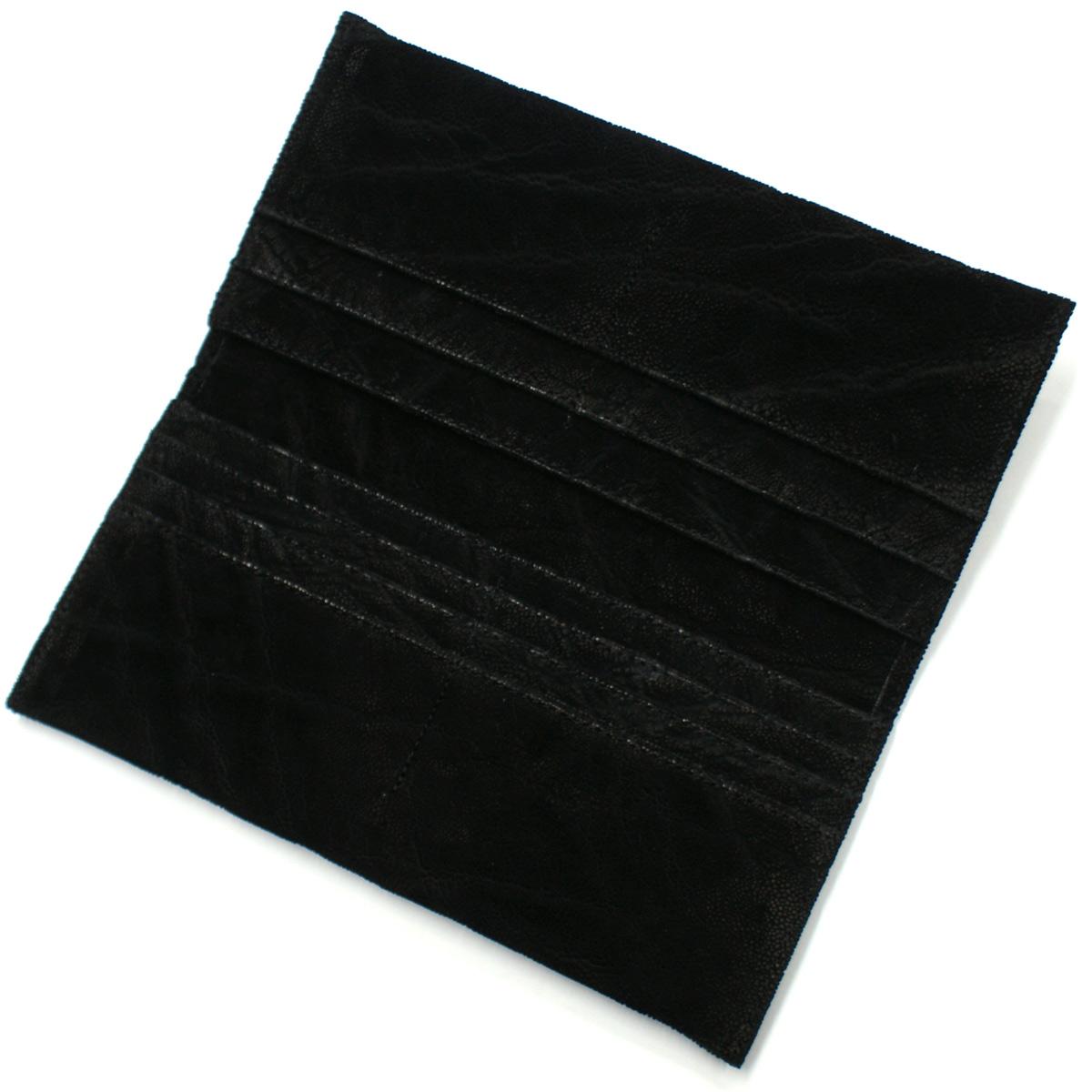 長財布 薄型 エレファントレザー 象革 ゾウ革 無双仕様 マチなし 小銭入れなし ブラック