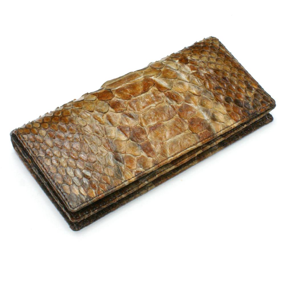 長財布 財布 メンズ レディース 長札 ロング ウォレットパイソン革 蛇革 へび革 通しまち型 小銭入れ付 ハードシェード チョコ 2