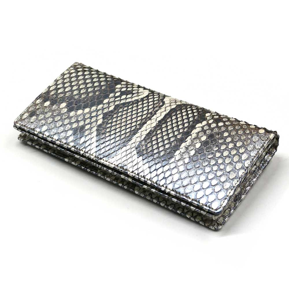 長財布 メンズ 本革 かぶせ 札入れ パイソン 蛇 ヘビ 無双仕様 通しまち 小銭入れなし 日本製 送料無料 モラレス パール シルバー