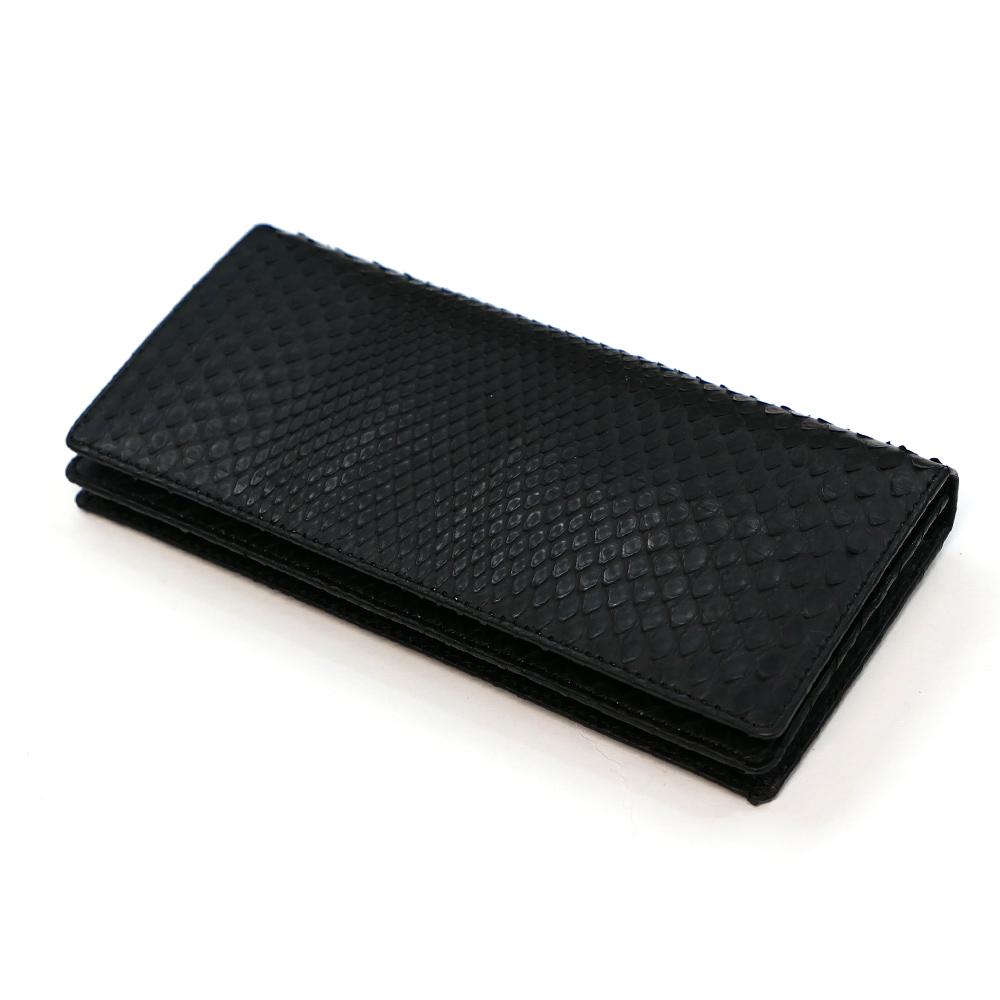 長財布 メンズ 本革 かぶせ 札入れ パイソン 蛇 ヘビ 無双仕様 通しまち 小銭入れなし 日本製 送料無料 モラレス マット ブラック