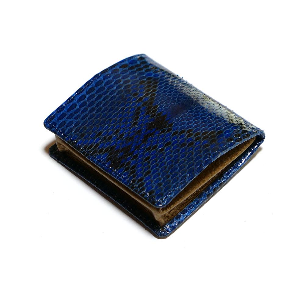 コインケース 小銭入れ ボックス型小銭入れ メンズ レディース 本革 パイソン革 ヘビ革 グレージング 藍染